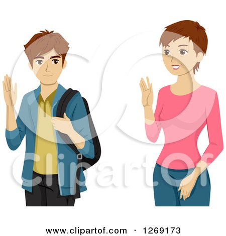 Clipart of a Caucasian High School Boy Waving to His Mom - Royalty Free Vector Illustration by BNP Design Studio