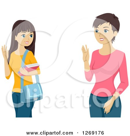 Clipart of a Teenage Caucasian Girl and Mother Waving Goodbye - Royalty Free Vector Illustration by BNP Design Studio