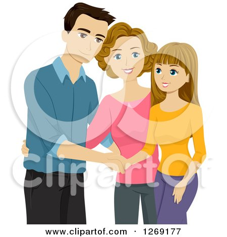 Clipart of a Caucasian Mother Introducing Her Boyfriend to Her Happy Teenage Daughter - Royalty Free Vector Illustration by BNP Design Studio