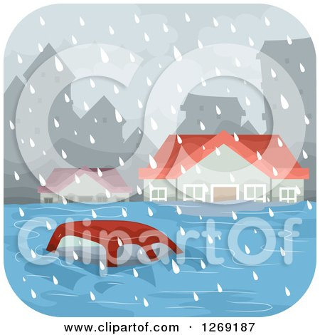 Clipart of a Car and Homes in a Flooded City - Royalty Free Vector Illustration by BNP Design Studio