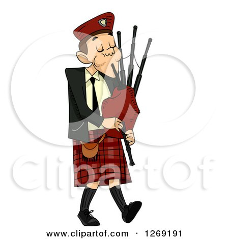 Clipart of a Scottish Man Playing Bagpipes - Royalty Free Vector Illustration by BNP Design Studio