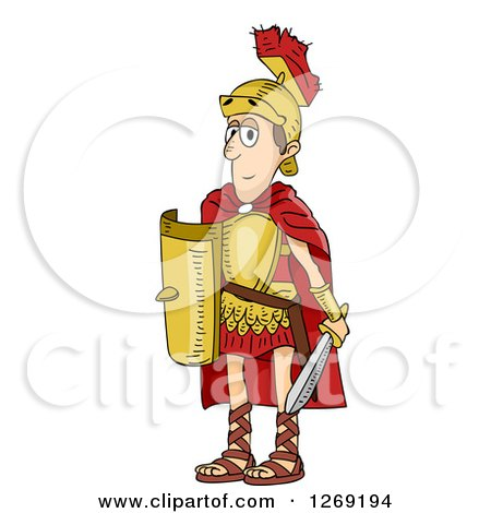 Clipart of a Skinny Roman Soldier Man - Royalty Free Vector Illustration by BNP Design Studio