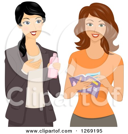 Clipart of a Sales Woman Direct Selling Her Beauty Product to a Lady - Royalty Free Vector Illustration by BNP Design Studio