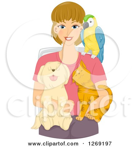 Clipart of a Blond Caucasian Woman Sitting with a Parrot, Dog and Cat - Royalty Free Vector Illustration by BNP Design Studio