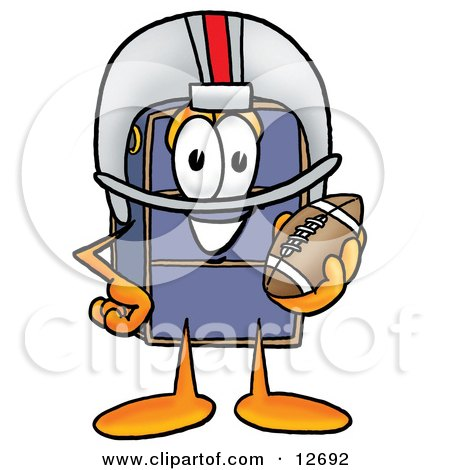 Clipart Picture of a Suitcase Cartoon Character in a Helmet, Holding a Football by Toons4Biz
