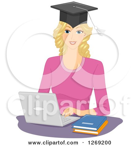 Clipart of a Blond Caucasian Woman Wearing a Graduate Cap and Working on a Laptop Computer - Royalty Free Vector Illustration by BNP Design Studio