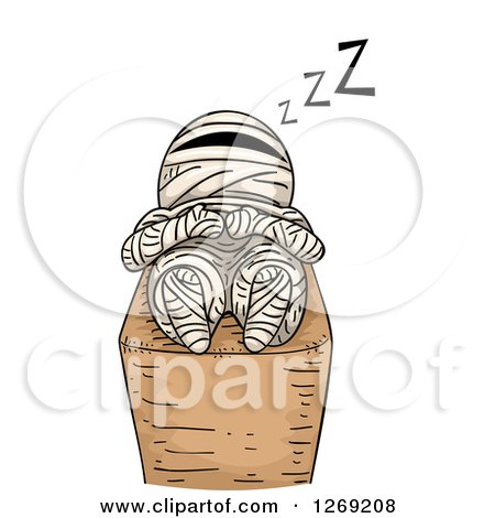 Clipart of a Mummy Sleeping - Royalty Free Vector Illustration by BNP Design Studio