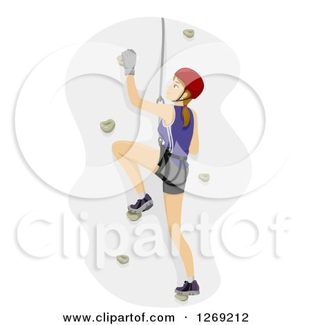 Clipart of a Caucasian Woman Rock Climbing - Royalty Free Vector Illustration by BNP Design Studio