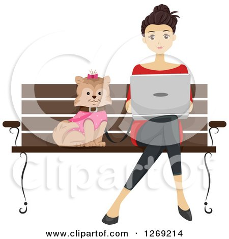 Clipart of a Brunette Caucasian Woman Using a Laptop and Sitting on a Park Bench with Her Dog - Royalty Free Vector Illustration by BNP Design Studio