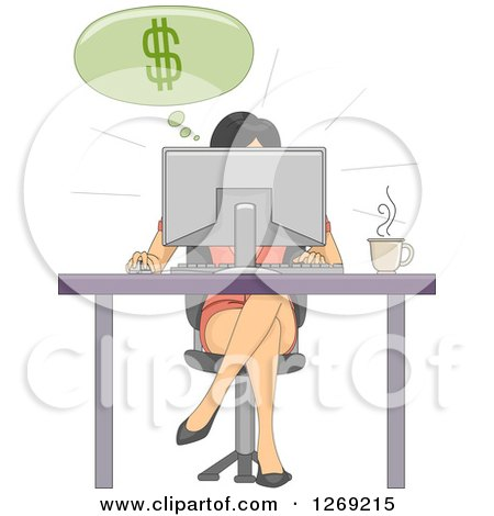Clipart of a Woman Making Money Online While Working at a Desk - Royalty Free Vector Illustration by BNP Design Studio