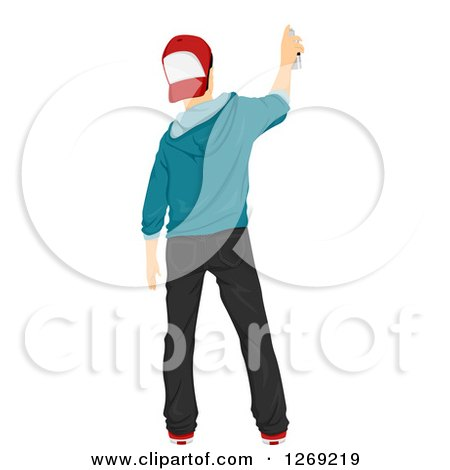 Clipart of a Rear View of a Punk Teenage Boy Spray Painting a Wall - Royalty Free Vector Illustration by BNP Design Studio