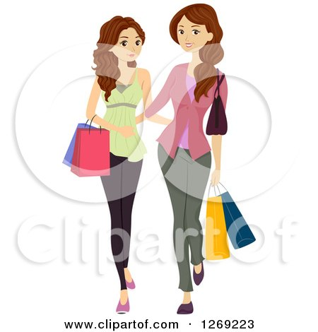 Clipart of a Brunette Caucasian Teen Girl Shopping with Her Mother - Royalty Free Vector Illustration by BNP Design Studio