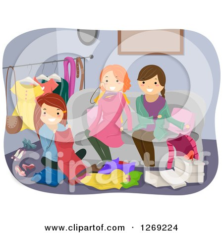 Clipart of Women at a Clothes Swap Party - Royalty Free Vector Illustration by BNP Design Studio