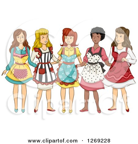 Clipart of a Group of Women in Retro Aprons - Royalty Free Vector Illustration by BNP Design Studio