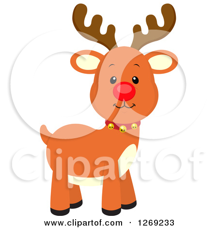Clipart Of A Red Nosed Rudolph Reindeer Royalty Free Vector Illustration By Cartoon Character