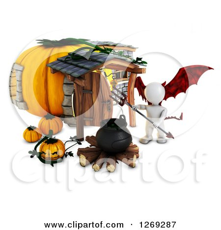 Clipart of a 3d White Demon Man with a Cauldron at a Halloween Pumpkin Cottage - Royalty Free Illustration by KJ Pargeter