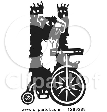 Clipart of a Black and White Woodcut Circus Bear Riding a Unicycle with No Hands ...