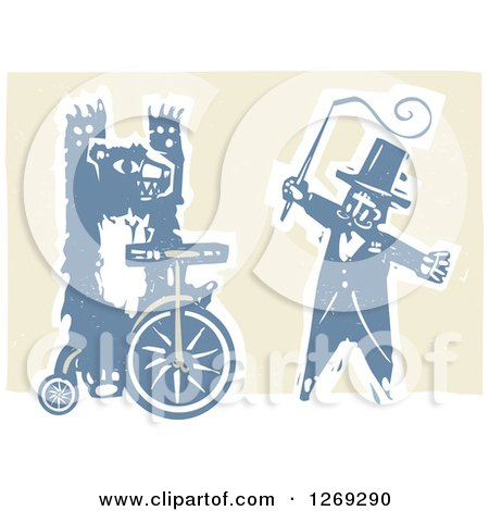 Clipart of a Woodcut Circus Ringmaster Holding a Whip by a Bear Riding a Unicycle - Royalty Free Vector Illustration by xunantunich