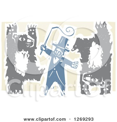 Clipart of a Woodcut Circus Ringmaster Holding a Whip While Bears Walk Upright and Do Handstands - Royalty Free Vector Illustration by xunantunich