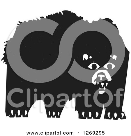 Clipart of a Black and White Woodcut Bear - Royalty Free Vector Illustration by xunantunich
