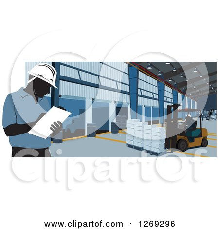 Clipart of Silhouetted Warehouse Workers Taking Inventory and Using a Forklift - Royalty Free Vector Illustration by David Rey