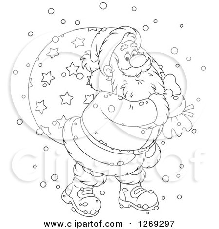 Clipart of a Cartoon Happy Black and White Santa Claus Carrying Sack in the Snow - Royalty Free Vector Illustration by Alex Bannykh