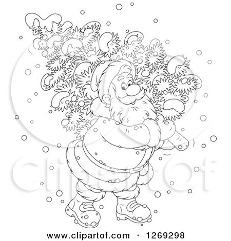 Clipart of a Cartoon Happy Black and White Santa Claus Carrying a Fresh Cut Christmas Tree in the Snow - Royalty Free Vector Illustration by Alex Bannykh
