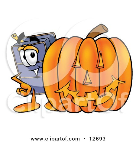 Clipart Picture of a Suitcase Cartoon Character With a Carved Halloween Pumpkin by Toons4Biz