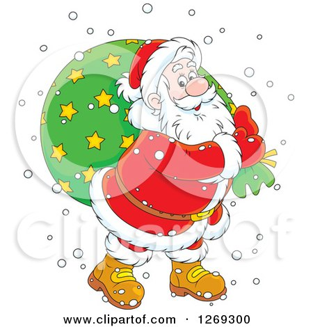 Clipart of a Cartoon Happy Caucasian Santa Claus Carrying Sack in the Snow, over a Green Circle - Royalty Free Vector Illustration by Alex Bannykh