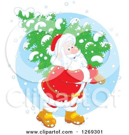 Clipart of a Happy White Santa Claus Carrying a Fresh Cut Christmas Tree in the Snow, over a Blue Circle - Royalty Free Vector Illustration by Alex Bannykh