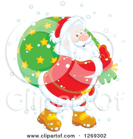 Clipart of a Happy White Santa Claus Carrying Sack in the Snow, over a Green Circle - Royalty Free Vector Illustration by Alex Bannykh