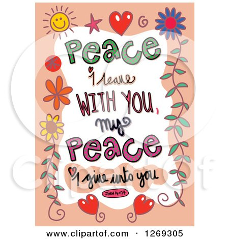 Clipart of Colorful Sketched ScripturePeace I Leave with You My Peace I Give Unto You John 14 V 27 Text in an Orange Border - Royalty Free Vector Illustration by Prawny
