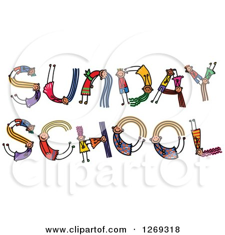 Clipart of Alphabet Stick Children Forming SUNDAY SCHOOL Text - Royalty Free Vector Illustration by Prawny