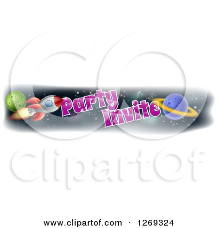 Clipart of a Rocket and Outer Space Party Invite Banner Design - Royalty Free Vector Illustration by AtStockIllustration