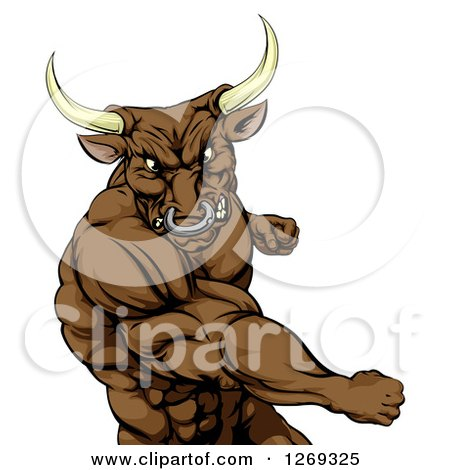 Clipart of an Aggressive Brown Bull or Minotaur Mascot Punching - Royalty Free Vector Illustration by AtStockIllustration