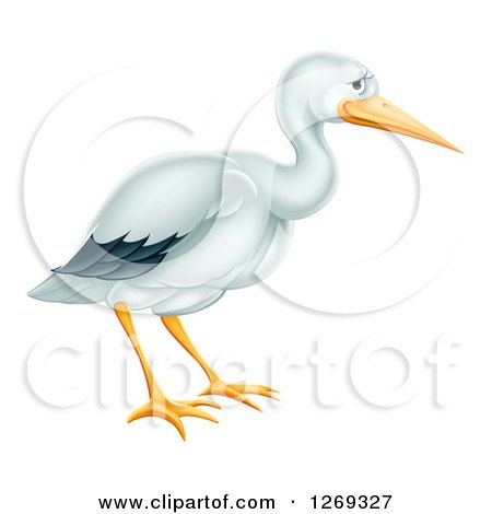 Clipart of a Cute Stork Bird in Profile - Royalty Free Vector Illustration by AtStockIllustration