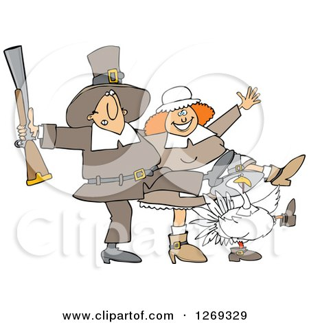 Clipart of a Thanksgiving Turkey Bird and Pilgrim Couple Dancing the Can Can - Royalty Free Vector Illustration by djart