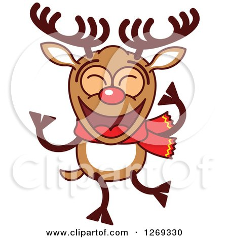 Clipart of a Happy Dancing Christmas Rudolph Reindeer - Royalty Free Vector Illustration by Zooco