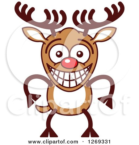 Clipart of a Grinning Embarrassed Christmas Rudolph Reindeer - Royalty Free Vector Illustration by Zooco