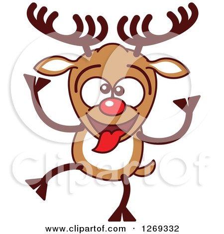 Clipart of a Goofy Christmas Rudolph Reindeer Making a Funny Face - Royalty Free Vector Illustration by Zooco