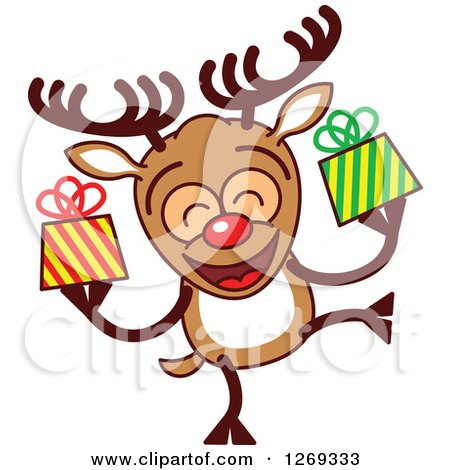 Clipart of a Happy Christmas Rudolph Reindeer Holding Gifts - Royalty Free Vector Illustration by Zooco
