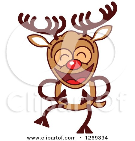 Clipart of a Laughing Christmas Rudolph Reindeer - Royalty Free Vector Illustration by Zooco