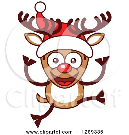 Clipart of a Happy Christmas Rudolph Reindeer in a Santa Hat - Royalty Free Vector Illustration by Zooco