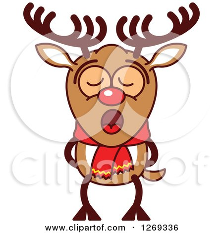 Clipart of a Christmas Rudolph Reindeer Singing Christmas Carols - Royalty Free Vector Illustration by Zooco