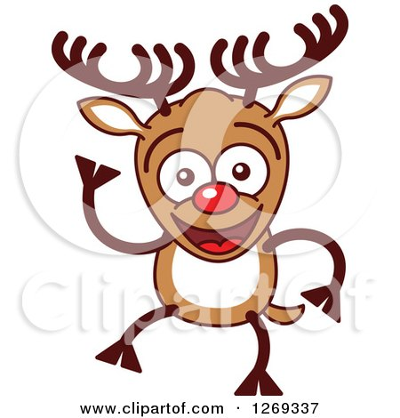 Clipart of a Friendly Waving Christmas Rudolph Reindeer - Royalty Free Vector Illustration by Zooco