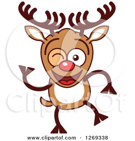 Clipart of a Winking Christmas Rudolph Reindeer - Royalty Free Vector Illustration by Zooco