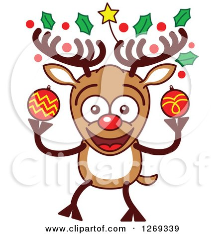 Clipart of a Happy Christmas Rudolph Reindeer with Decorated Antlers - Royalty Free Vector Illustration by Zooco