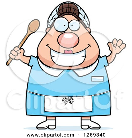 Clipart of a Cartoon Chubby Happy Caucasian Lunch Lady Waving and Holding a Spoon - Royalty Free Vector Illustration by Cory Thoman