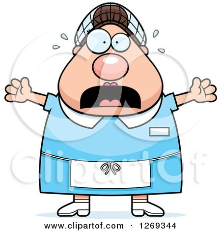 Clipart of a Cartoon Chubby Scared Screaming Caucasian Lunch Lady - Royalty Free Vector Illustration by Cory Thoman