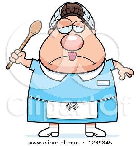 Clipart of a Cartoon Chubby Depressed Caucasian Lunch Lady Holding a Spoon - Royalty Free Vector Illustration by Cory Thoman